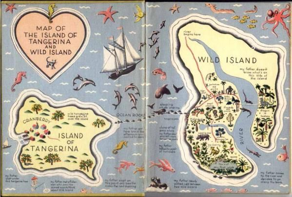 Color map of the Island of Tangerina and Wild Island. Use with lapbook for My Father's Dragon in Sonlight Core A.