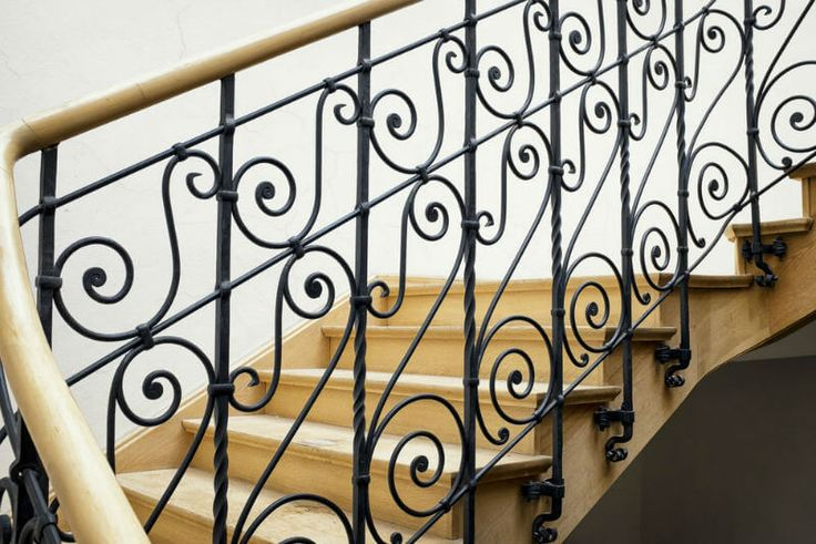 wood and iron stair handrail