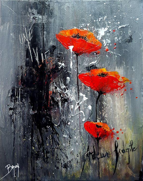 Ardeur fragile - Tableau peinture BRUNI Eric (Peinture),  24x30 cm par Eric Bruni Titre : Ardeur fragile Dimensions : 30X24cm Size : 11,8 X 9,4 inches  ©Bruni Eric