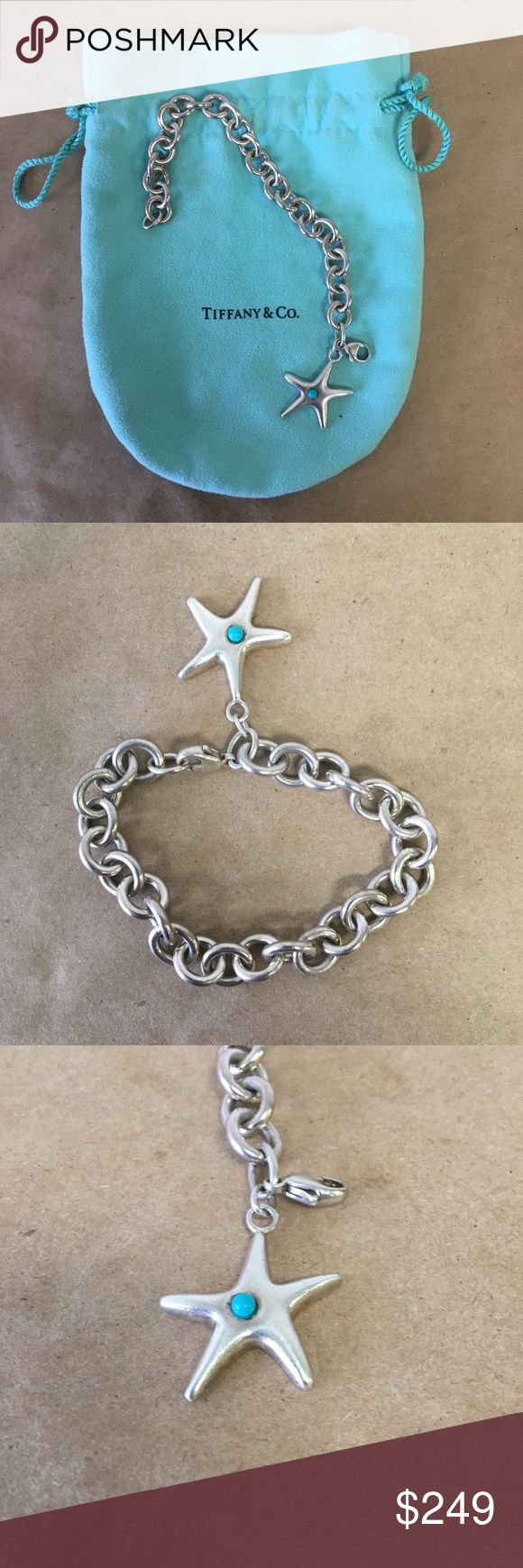 """Tiffany Elsa Peretti Silver Starfish 7"""" Bracelet! Tiffany Elsa Peretti .925 Sterling Silver Starfish 7"""" Bracelet w/ Turquoise Inventory #  5975-4 Everything we sell is 100% guaranteed authentic! We list dozens of items every day, so check our other listings out! We are Meta Exchange, a resale store in Baton Rouge, LA! Sorry, no trades. REASONABLE offers will be considered. We ship same/next day. Thanks! Follow us: FB metaexchange  IG meta225 Tiffany & Co. Jewelry Bracelets"""