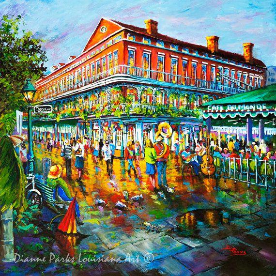 Café du Monde New Orleans Art New Orleans Street by DianneParksArt