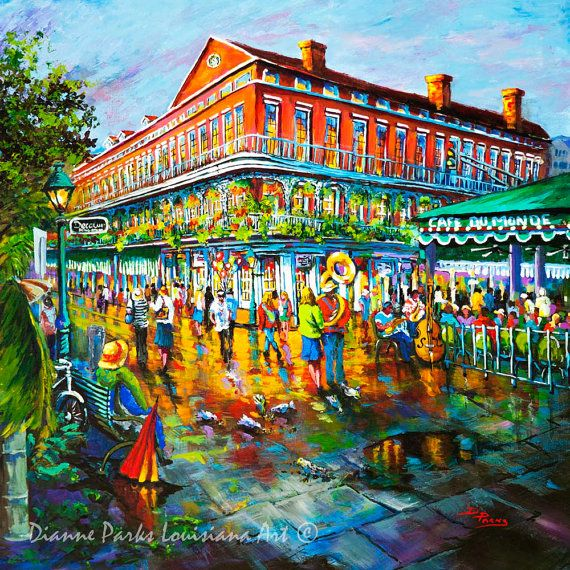 Cafe du Monde, New Orleans Art, New Orleans Painting, New Orleans Print, New Orleans French Quarter, Jackson Square Painting FREE SHIPPING!