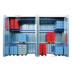 Regallager -STR 4- mit 2 Fachebenen und Falttüren, 3030 x 1725 x 4050 mm  #Anbauregal #Grundregal #Lagerregal #Lastenregal #Materialcontainer #Lagerraum