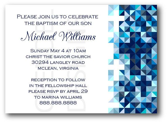 Baptism Invitation for Boys Blue Geometric by CBendelDesigns. These invitations can also be personalized for First Communion or Confirmation. This is a great design that works well for older boys.