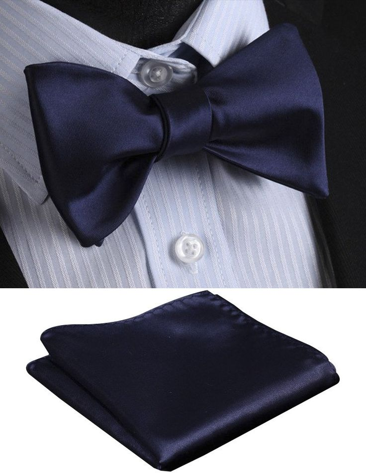 100% Blue Silk Self Tie Bow Tie   Pocket Square (Optional)