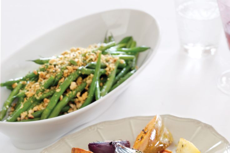 Green beans are great sauteed in butter, but by adding this nutty gremolata topping they become truly sublime.