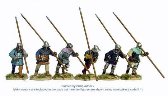 AO26 Spearmen/Pikemen running,shouldered weapon (these can be used as Low Country or Early Swiss Pike aswell as French or Scottish spearmen)