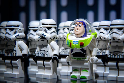 Fitting In by Plastic People Pictures | LEGO Toy Story Buzz Lightyear & LEGO Star Wars Stormtrooper Minifigs