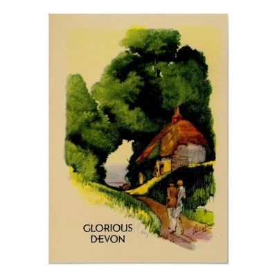 Devon England ~ Vintage UK Travel Poster