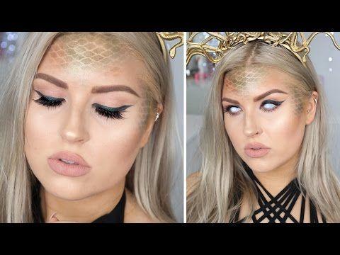 Medusa Halloween Makeup ♡ Snake Scales, Green & Gold – YouTube – Miya Allen