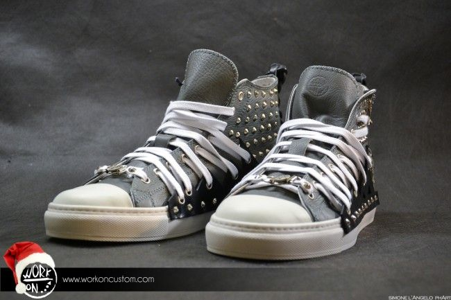 Work_On leather shoes - #leather #shoes #custom #studs #sneakers #workon #fashion #handmade #madeinitaly - www.workoncustom.com - mod. North