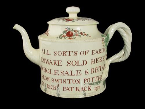 Creamware teapot decorated with Leeds Pottery style flowers, dated 1773