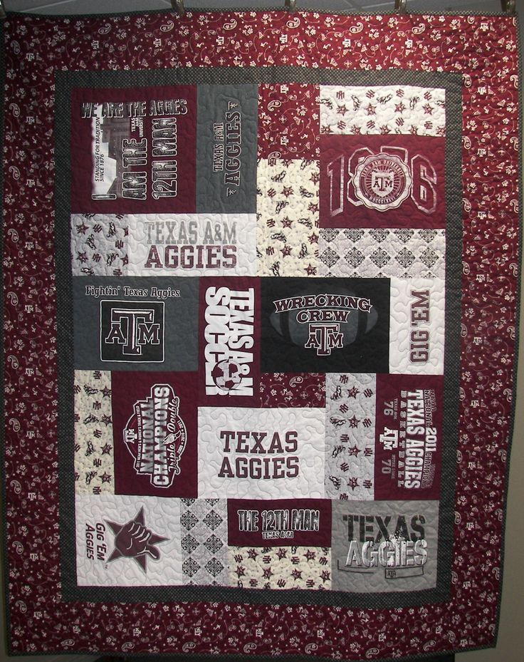 Aggie T-Shirt Quilt-- I STILL WANT THIS! Maybe I can take a class to learn how to do it myself?