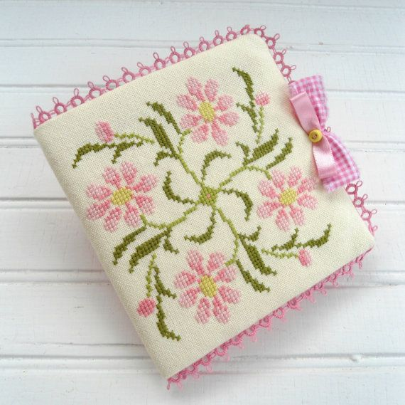 Pink Daisy Cross Stitch Needle Book. Needle by SnowBerryNeedleArts