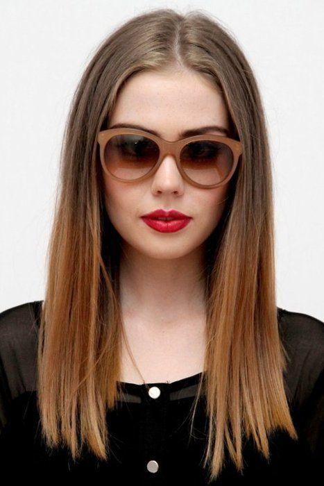 One Length Ombre Straight Hair Haircut Long Medium