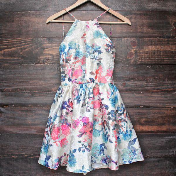 Printed floral high neck dress