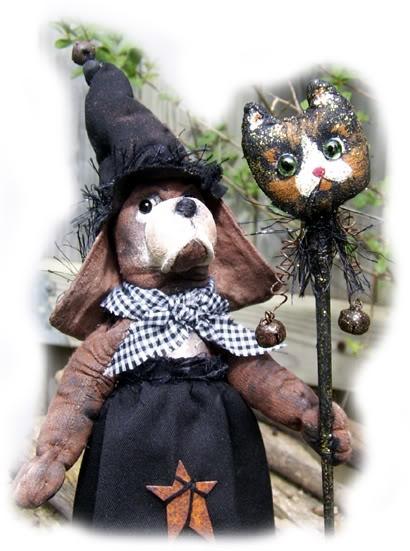 Hand painted muslin folk-art hound dog witch.