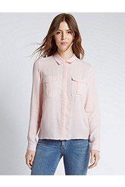 Long Sleeve Boxy Pocket Shirt, BLUSH