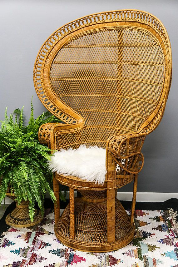 On Sale Vintage Emmanuel Peacock Chair Wicker High Back Fan High