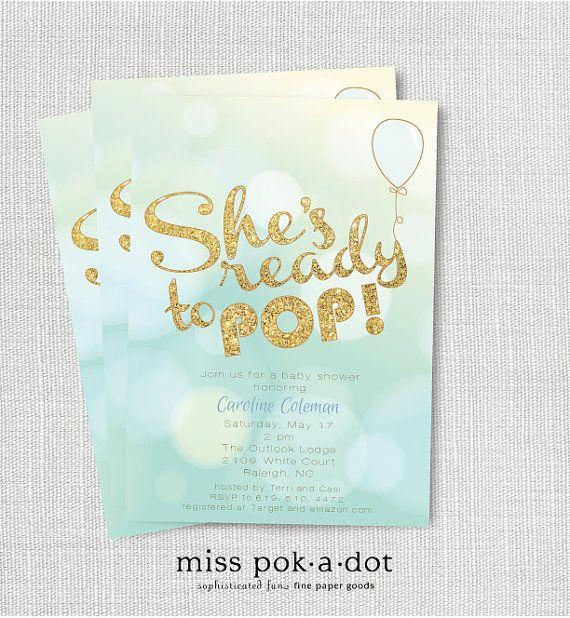 she's ready to pop  baby shower invitation  baby by misspokadot