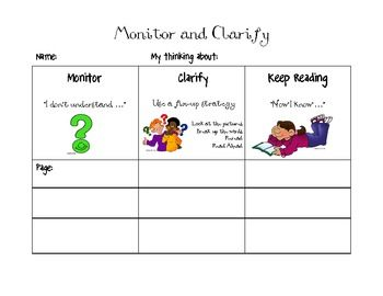 15 best comprehension monitoring images on pinterest teaching this is a worksheet to help students record their thoughts when monitoring and clarify their reading fandeluxe Choice Image