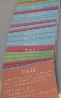 Another fabulous wedding idea: Trivia cards for cocktail hour. Another idea that I never had time to implement. If only you got to have multiple weddings! :)