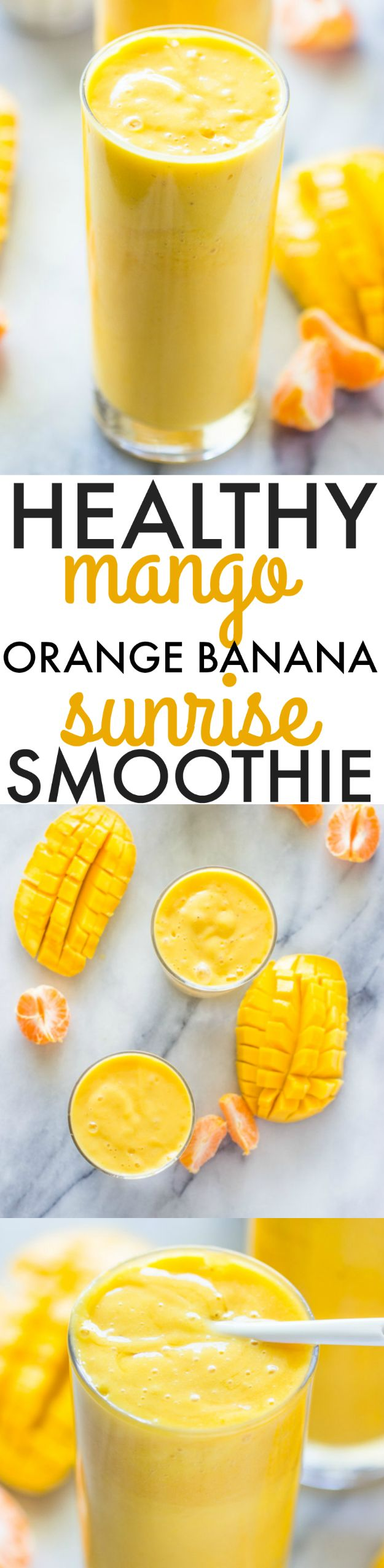 Healthy Smoothie Recipes - Healthy Mango Orange Banana Sunrise Smoothie - Easy ideas perfect for breakfast, energy. Low calorie and high protein recipes for weightloss and to lose weight. Simple homemade recipe ideas that kids love. Quick EASY morning recipes before work and school, after workout http://diyjoy.com/healthy-smoothie-recipes