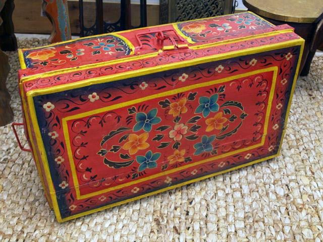 Hand Painted Iron Suitcase; 8