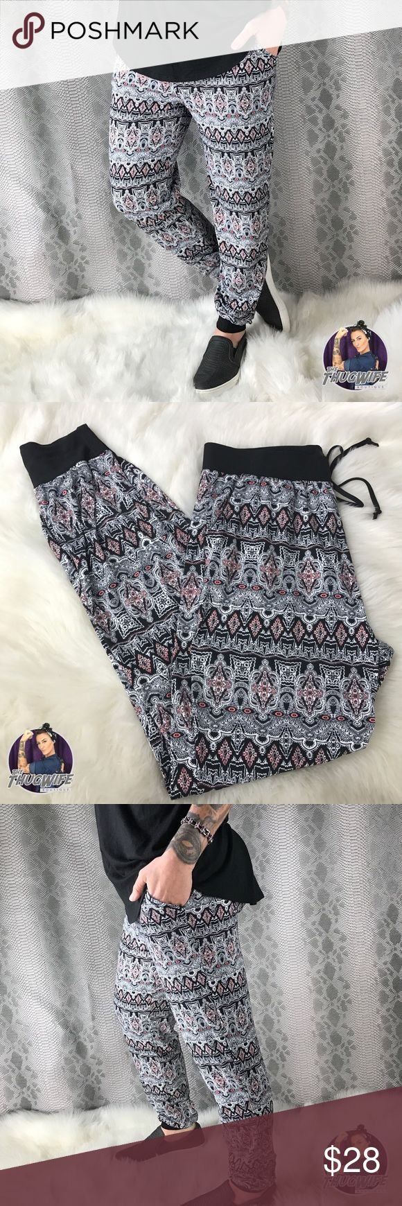 Buttery soft pink tribal joggers NWT Tribal joggers  NEW WITH TAGS    Our classic butter soft feel you love ! Drop crotch jogger style . Tribal print . Stretchy fabric . Elastic waist . Adjustable drawstring . Functional waist tie and pockets . Uses same butter soft fabric blend as lularoe  .     Use the OFFER BUTTON • bundle for 10% off   🤗 please no drama ladies lets be nice 🤗  • 5 star rating • 600+ sales  • smoke free home  • always 100% authentic  |💀 www.thethugwife.com 💀|   N O…