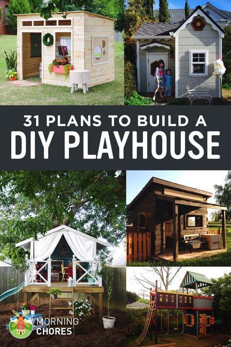 31 Free DIY Playhouse Plans to Build for Your Kids' Secret Hideaway #playhousebuildingplans #buildplayhouses