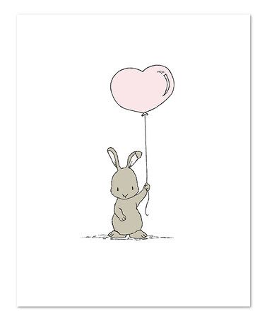Another great find on #zulily! Bunny Heart Balloon Print #zulilyfinds
