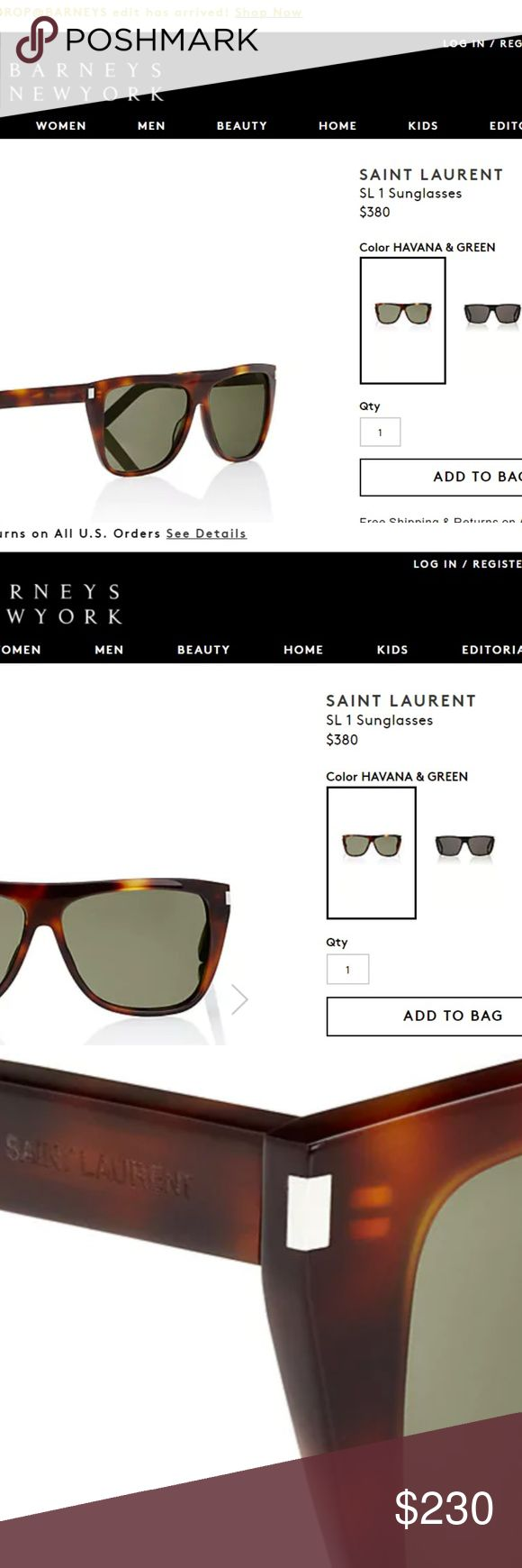 SAINT LAURENT SUNGLASSES 100% AUTHENTIC-BRAND NEW Currently listed on Barney's site for $380. These are brand new 100% authentic in packaging, never worn or taken out of packaging ever, which is why I have my pictures directly from Barney's site. Tons of celebrities wear these exact shades...Kim Kardashian, Miranda Kerr, Angelina Jolie, etc.  These are the Havana & Green color, Kim K is wearing the black version Saint Laurent Accessories Sunglasses