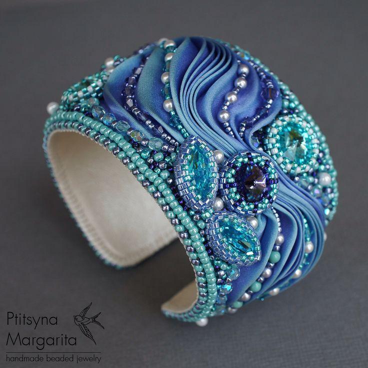 "Bracelet ""Magic"", bracelet with shibori ribbon, bead embroidered bracelet, bead embroidery, beaded bracelet, shibori jewelry, shibori by RitaLovelyBeads on Etsy https://www.etsy.com/uk/listing/242156025/bracelet-magic-bracelet-with-shibori"