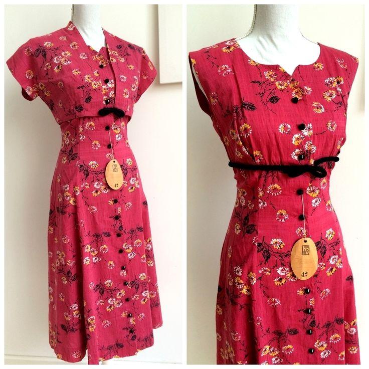 40s - DEADSTOCK NWT - 2pc Pink Rayon Dress + Bolero - W31 (79cm), €120