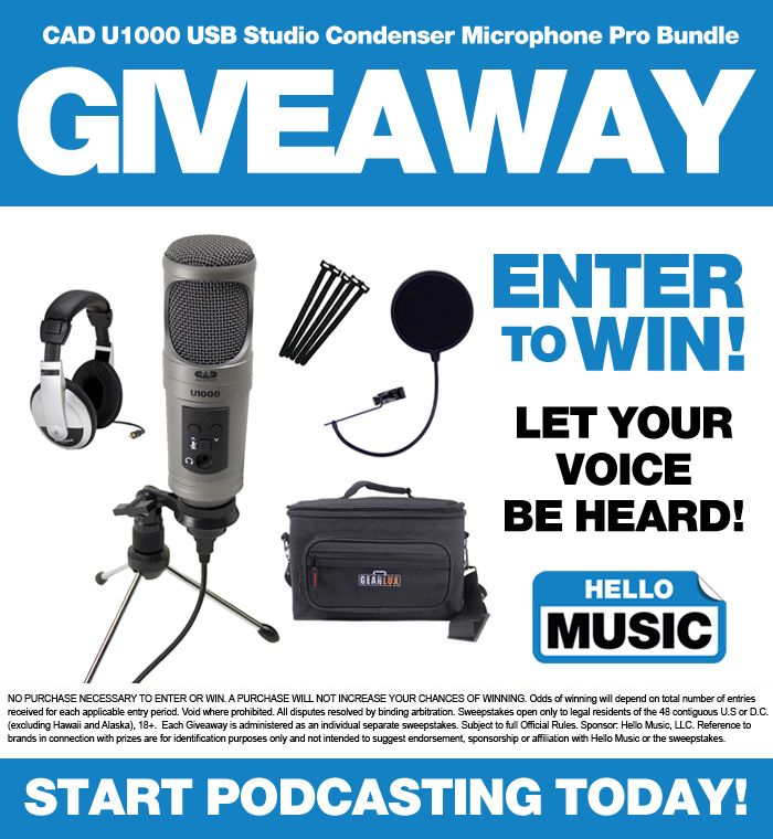 Hello Music is giving away A CAD U1000 USB Studio Condenser Microphone Pro Bundle! Enter to win here: http://www.hellomusic.com/giveaways/