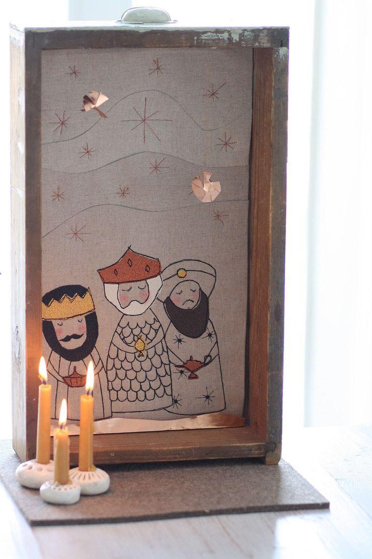Momentan stehe ich total auf alte Schubladen, die ich als Objektkasten zweckentfremde. So schwirren mir ständig Ideen im Kopfherum, mit welchen Motiven oder Themen ich ein neue Schublade gestalten könnte. Über Weihnachten kam mir die Idee, eine mit den heiligen drei Königen zu gestalten.  Zuerst habe ich ganz Old School ein Bild von Hand gezeichnet. Diese Zeichnung habe ich dann eingescannt ...