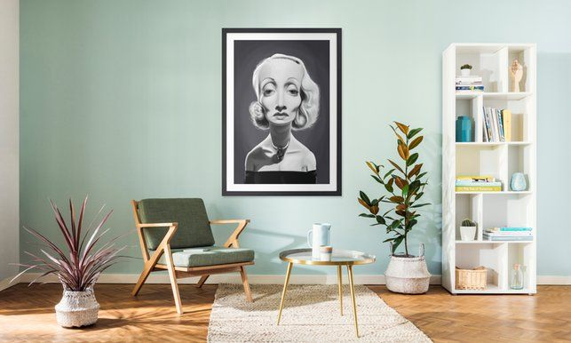 Marlene Dietrich - Rob Snow | Creative - Poster in Wooden Frame art | decor | wall art | inspiration | caricature | home decor | idea | humor | gifts