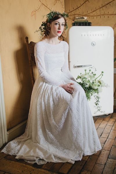 Long Sleeve Vintage Wedding Dress