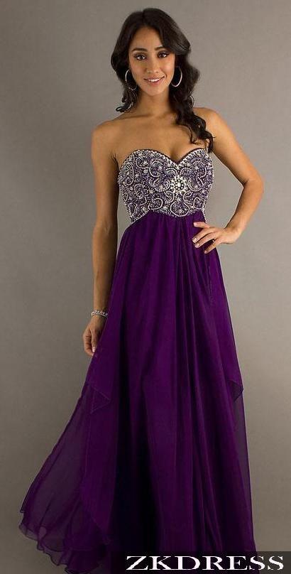 Dark Long Purple Prom Dresses