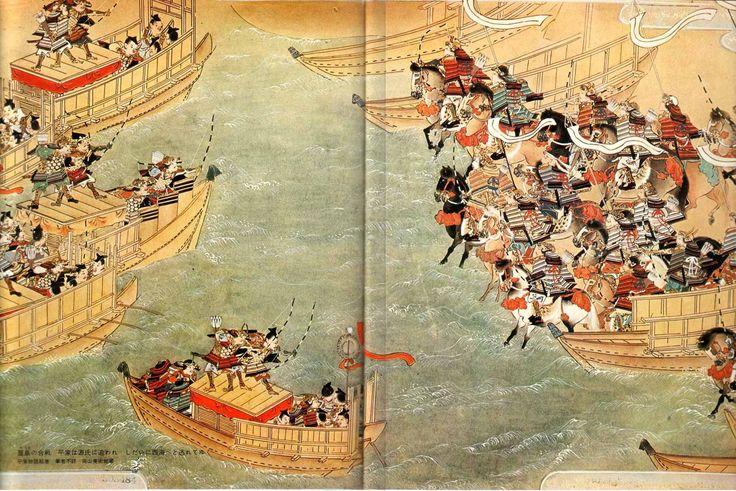 This painting depicts Yoshitsune's warriors charging (drawn on the right) towards the enemy Taira forces (left) who have retreated to their boats off shore. As the Minamoto force chase the Taira into the water with their horses, the Taira respond with a barrage of arrows. In defense, a group of warriors sacrificed themselves by shielding Yoshitsune with their own bodies. Yoshitsune is moved to tears with the death of Tsuginobu, one of the fallen men who had protected him. -N Hoang