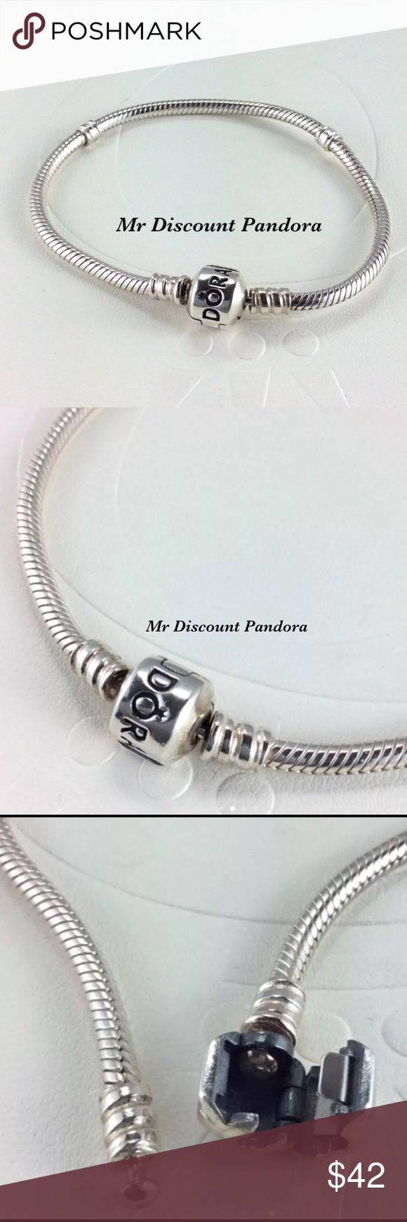 """7.1"""" Pandora Iconic Silver Bracelet This sterling silver charm bracelet is the most popular PANDORA bracelet. Its design features a barrel charm clasp and our innovative threading system, which makes it easy to screw PANDORA charms onto your bracelet and keep them securely where you want them. This is the perfect style to start or add to your charm collection.  Condition: Gently used (Not stiff)  Retail new $70.00 including taxes  Add a Pandora box for $4 more  Bundle/Offer for discount…"""