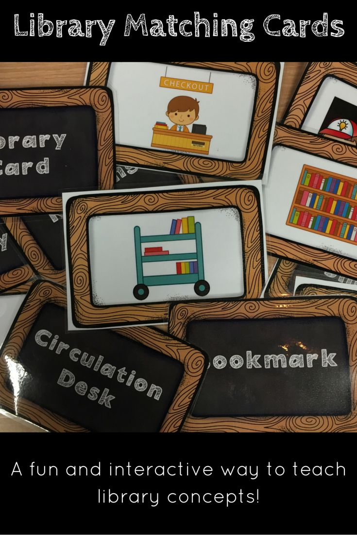 Library Terminology Cards Lower Elementary