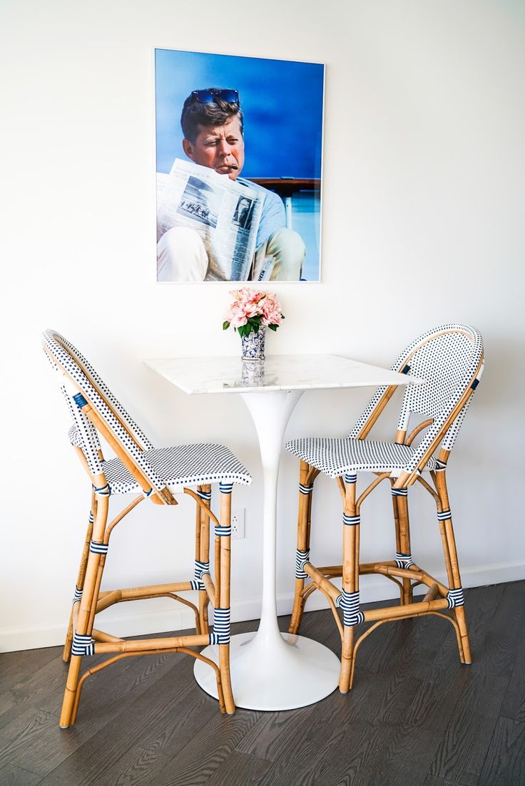 New York City Apartment Dining Room - Navy and White Preppy Dining Stool Chairs