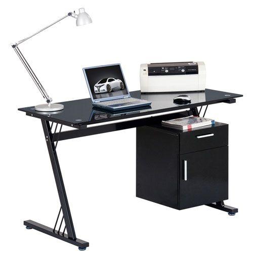 Montana Black Glass Computer Desk AW233314DA-BK