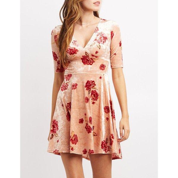 Charlotte Russe Floral Velvet Open-Back Skater Dress ($24) ❤ liked on Polyvore featuring dresses, multi, red open back dress, floral a line dress, velvet dress, a line dress and plunging v neck dress