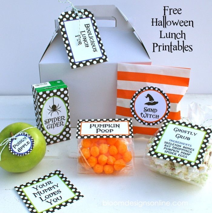Free Halloween Lunches Printables