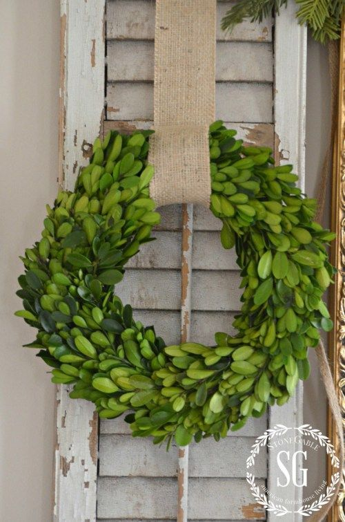 BON NOEL- HOW TO CREATE FRENCH CHRISTMAS DECOR-boxwood wreath-stonegableblog.com