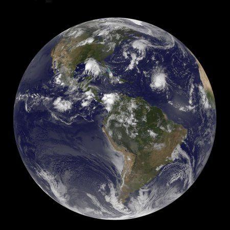 Full Earth showing tropical storms in the Atlantic Ocean Canvas Art - Stocktrek Images (28 x 28)