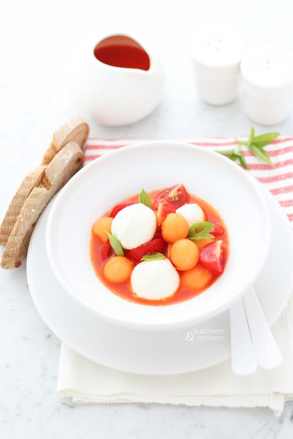 Modern caprese salad with melon. Click to read the recipe or save this pin for later!