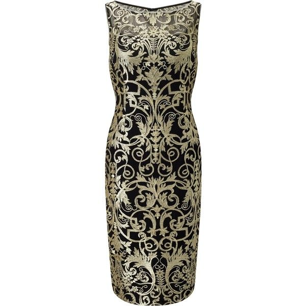 Adrianna Papell Petite Metallic Lace Sheath Dress, Black/Gold (€185) ❤ liked on Polyvore featuring dresses, petite, lace cocktail dress, petite cocktail dress, long-sleeve shift dresses, lace maxi dress and floral maxi dress